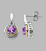 14K Gold & Sterling Silver Earring with Amethyst and Diamond Accent