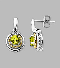 14K Gold & Sterling Silver Earring with Peridot and Diamond Accent