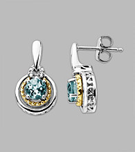 14K Gold & Sterling Silver Earring with Aqua and Diamond Accent