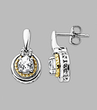 14K Gold & Sterling Silver Earring with White Topaz and Diamond Accent