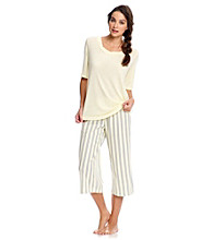 KN Karen Neuburger Knit Pajama Set - Yellow Stripe