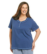KN Karen Neuburger Plus Size Knit Short Sleeve Top