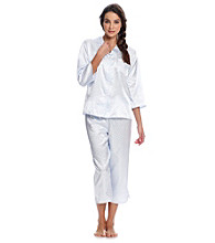 Miss Elaine® Satin Pajama Set - Blue Dots