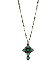 Nine West Vintage America Collection® Silvertone Turquoise Beaded Cross Pendant Necklace