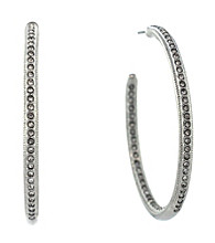Vince Camuto™ Silvertone Pave Open Hoop Earrings