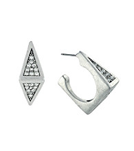 BCBGeneration™ Silvertone Square Pave Open Hoop Earrings