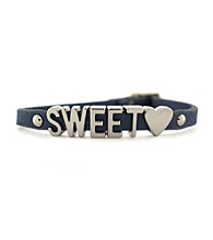 BCBGeneration™ Gray and Silvertone Sweet Heart Mini Bracelet