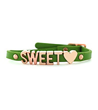BCBGeneration™ Green and Rose Goldtone Sweet Heart Mini Bracelet