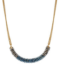 Kenneth Cole® Silvertone & Blue Cherry Bead Wrapped Frontal Necklace