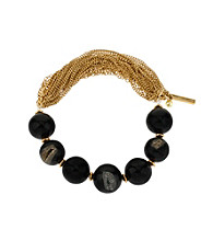 Kenneth Cole® Black Semi Precious Bead Half Stretch Bracelet