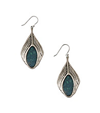 Lucky Brand® Silvertone/Blue Peacock Earrings