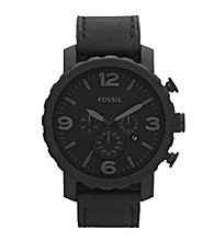 Fossil® Nate Black Silicone Men's Casual Watch