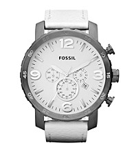 Fossil® Nate White Silicone with Brushed Smoke Case Men's Casual Watch