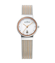 Skagen Denmark Women's Silver and Rose Striped Mesh Watch