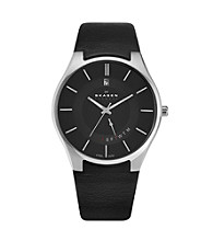 Skagen Denmark Men's Black Leather with Date Function Watch