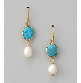 Genuine Turquoise Bezel & Freshwater Pearl Drop Earrings