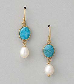Genuine Turquoise Bezel & Freshwater Pearl Drop Earrings