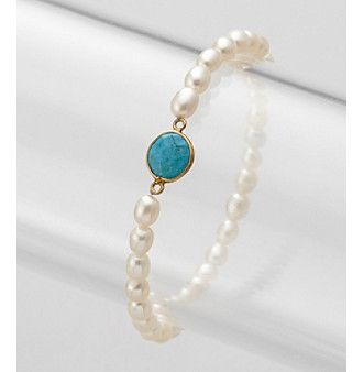 Genuine Turquoise Bezel & Freshwater Pearl Stretch Bracelet