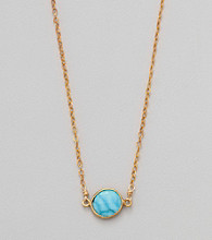 Gold Over Silver Chain & Genuine Turquoise Bezel Necklace