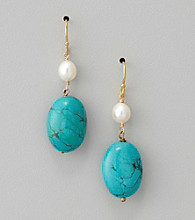 Genuine Stabilized Turquoise Oval Drop Earrings