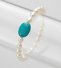 Genuine Freshwater Pearl & Stabilized Turquoise Oval Stretch Bracelet