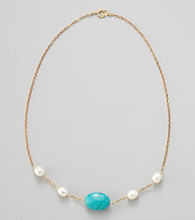 Gold Over Silver Chain w/ Genuine Freshwater Pearl & Genuine Stabilized Turquoise Oval Necklace