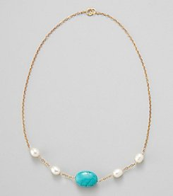 Gold Over Silver Chain with Genuine Freshwater Pearl & Genuine Stabilized Turquoise Oval Necklace
