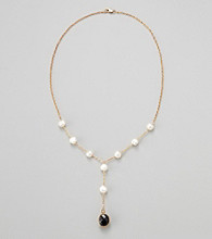 Gold Over Silver Chain w/ Genuine Black Onyx Bezel / Genunie Freshwater Pearl Y Necklace