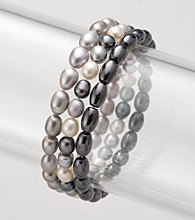 3 Piece Set of Two Genuine Freshwater Pearl & One Genuine Hematite Stretch Bracelet