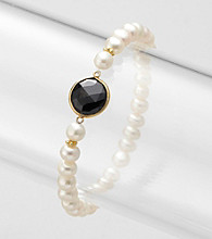 Genuine Black Onyx and Freshwater Pearl Stretch Bracelet
