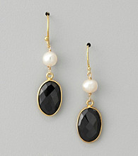 Genuine Freshwater & Black Onyx Bezel Drop Earrings