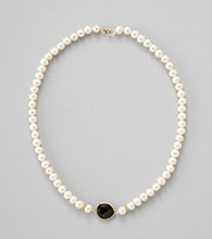 Genuine Freshwater Pearl Necklace with Black Onyx Bezel