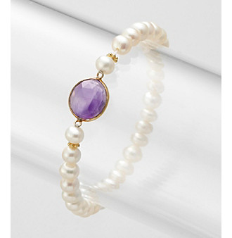 Genuine Freshwater Pearl with Amethyst Bezel Stretch Bracelet