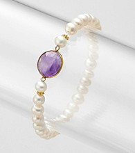 Genuine Freshwater Pearl with Amethyst Bezel Stretch Bracelet