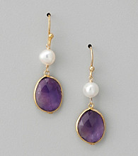 Genuine Freshwater Pearl and Amethyst Bezel Drop Earrings