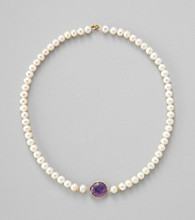 Gold o=Over Silver Genuine Amethyst Bezel with Genuine Freshwater Pearl Necklace