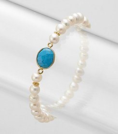 Genuine Turquoise Bezel and Freshwater Pearl Stretch Bracelet