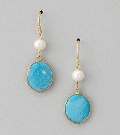 Genuine Turquoise Bezel and Freshwater Pearl Drop Earrings