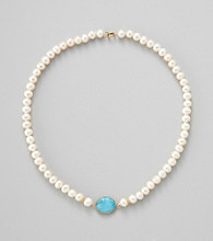 Gold Over Silver Genuine Turquoise Bezel w/ Genuine Freshwater Pearl Necklace
