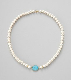 Gold Over Silver Genuine Turquoise Bezel with Genuine Freshwater Pearl Necklace