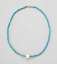 Gold Over Silver / Genuine Stabilized Turquoise & Genuine Freshwater Pearl in Center Necklace 16