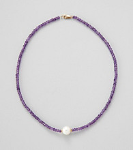 Gold Over Silver / Genuine Faceted Amethyst Rondelles & Genuine Freshwater Pearl in Center Necklace
