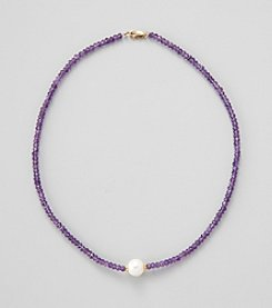 Gold Over Silver Necklace with Genuine Faceted Amethyst Rondelles & Genuine Freshwater Pearl in Center