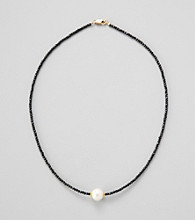 Gold Over Silver / Genuine Faceted Black Spinel & Genuine Freshwater Pearl in Center Necklace