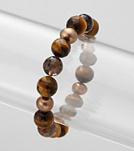 Genuine Tiger Eye, Smokey Quartz, and Freshwater Pearl Stretch Bracelet