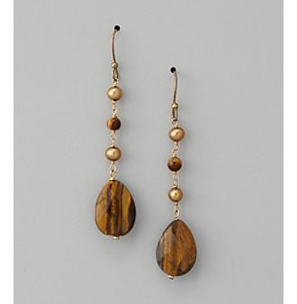 Genuine Freshwater Pearl and Tiger Eye Drop Earrings
