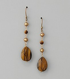 Genuine Freshwater Pearl and Tiger Eye Drop Earrings