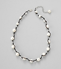 Genuine Freshwater Pearl with Glass Rondelles Necklace in Sterling Silver