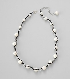 Genuine Freshwater Pearl Sterling Silver Necklace with Glass Rondelles