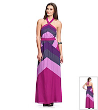 Jessica Simpson Color Block Halter Maxi